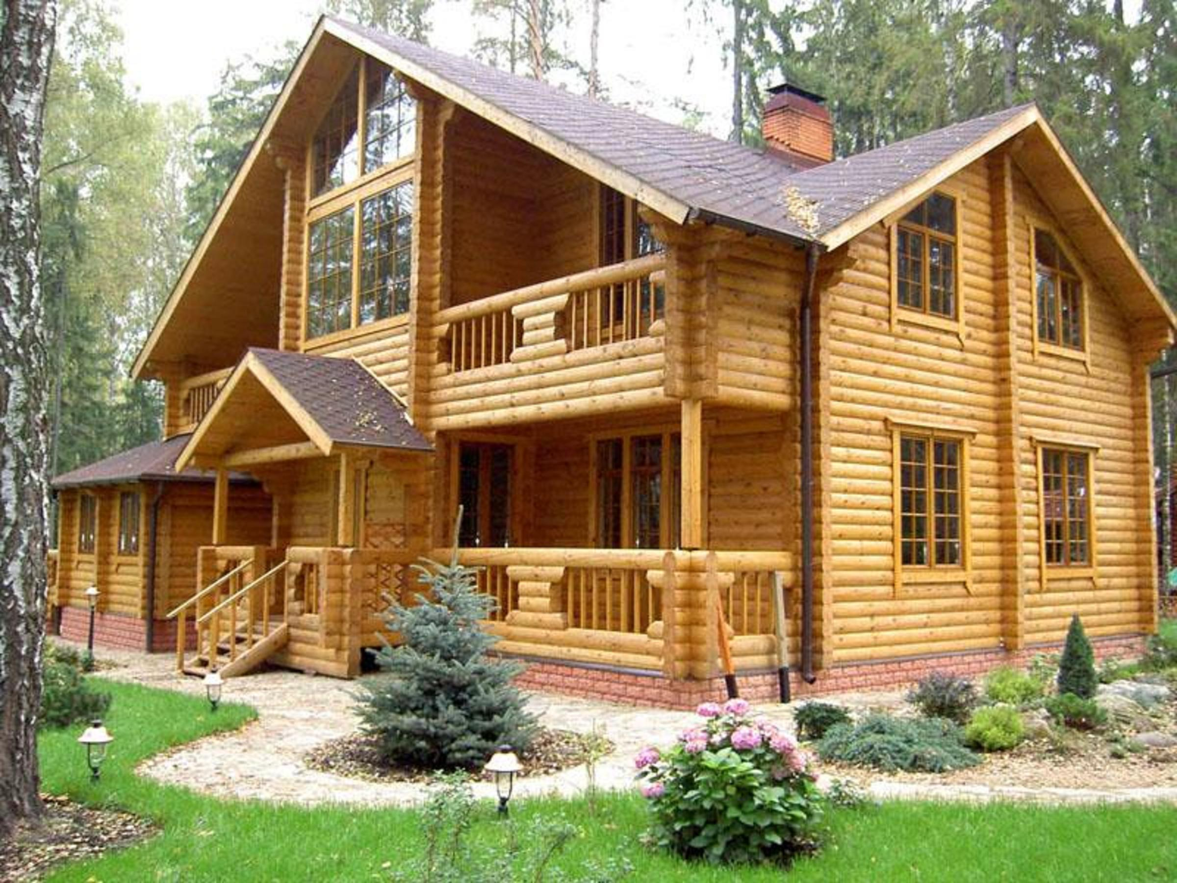 Деревянный дом коттедж фото